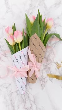 鲜花 郁金香 包扎 花束