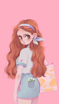 粉色背景 手绘女孩 Q版 长卷发
