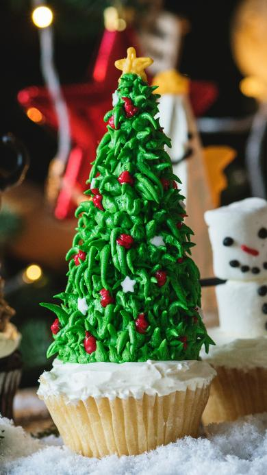 纸杯蛋糕 圣诞树 甜品 绿色
