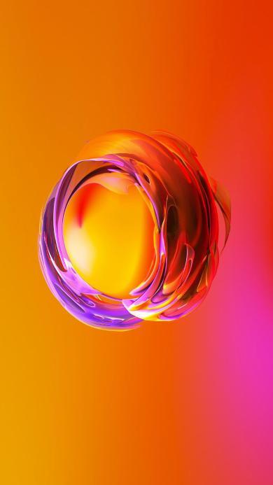 圆 球形 橘色 色彩 抽象 空间