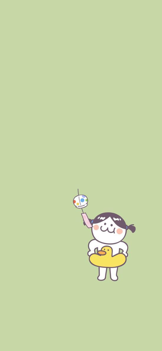 后田花子 可爱 小女孩 鸭子泳圈 风铃 绿色