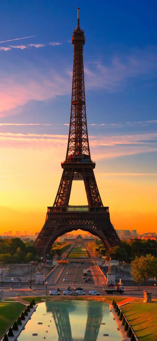 埃菲尔铁塔 法国 著名景点 天空 黄昏