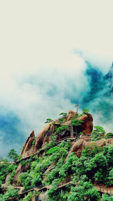 景色 雨雾缭绕 景区