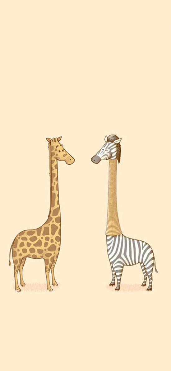 创意 长颈鹿 斑马 棕色
