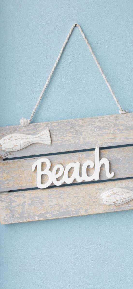 beach 标志 木牌