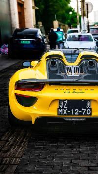 保时捷 道路 黄色 炫酷 超级跑车 行驶