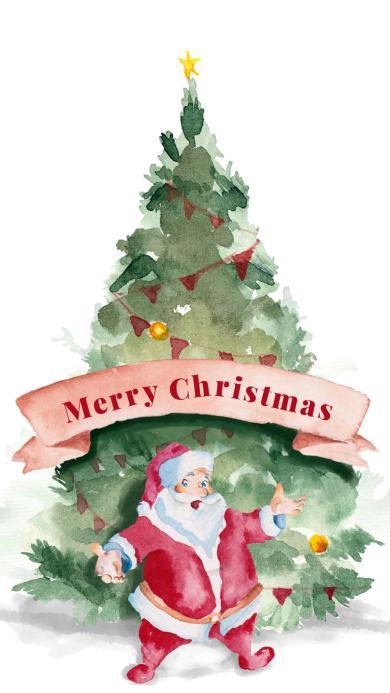 圣诞插画 圣诞树 圣诞老人 Merry Christmas