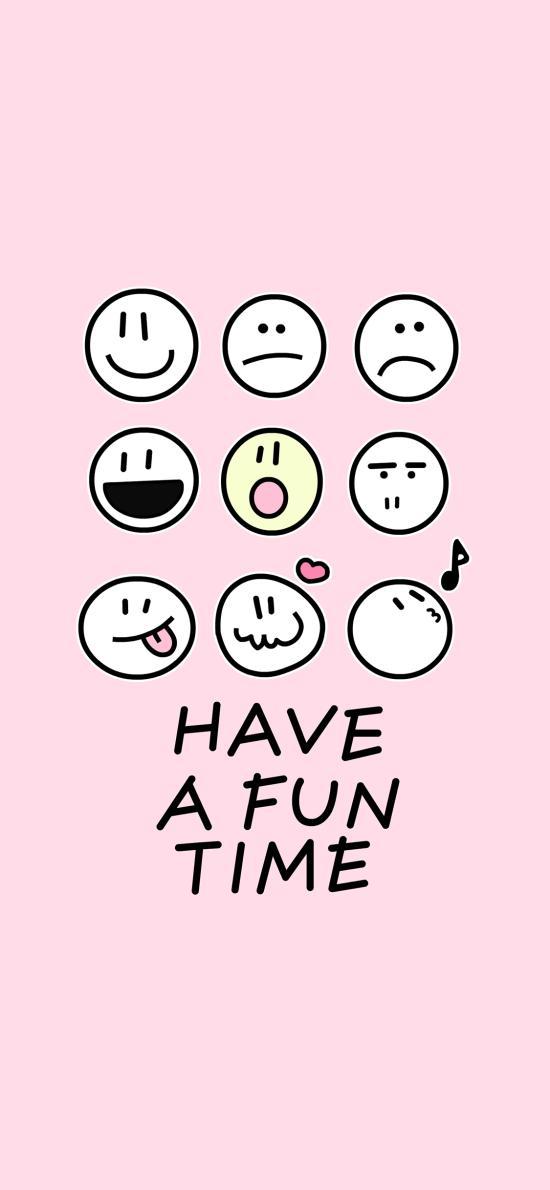 have a fun time 拥有一个美好的时光 粉色 表情