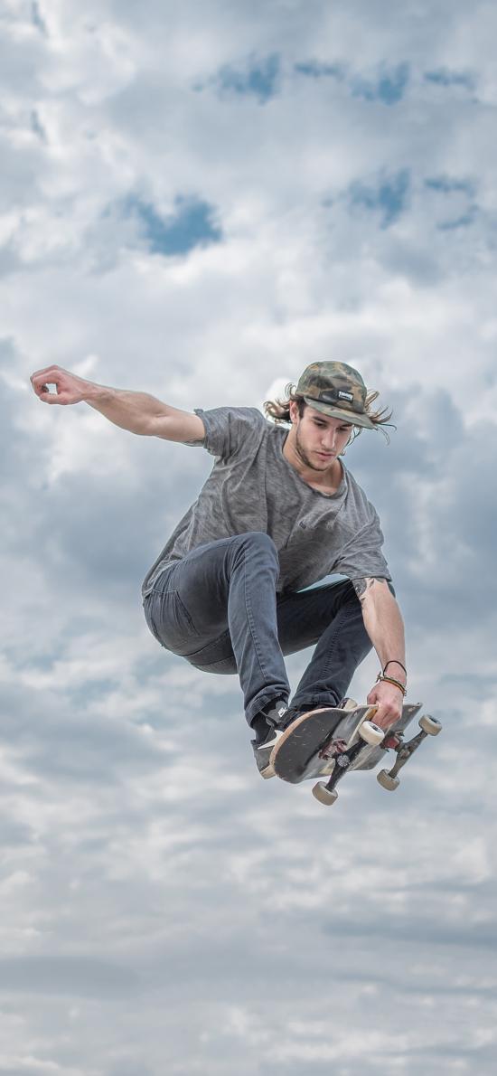 滑板 男孩 欧美 运动 花式 天空