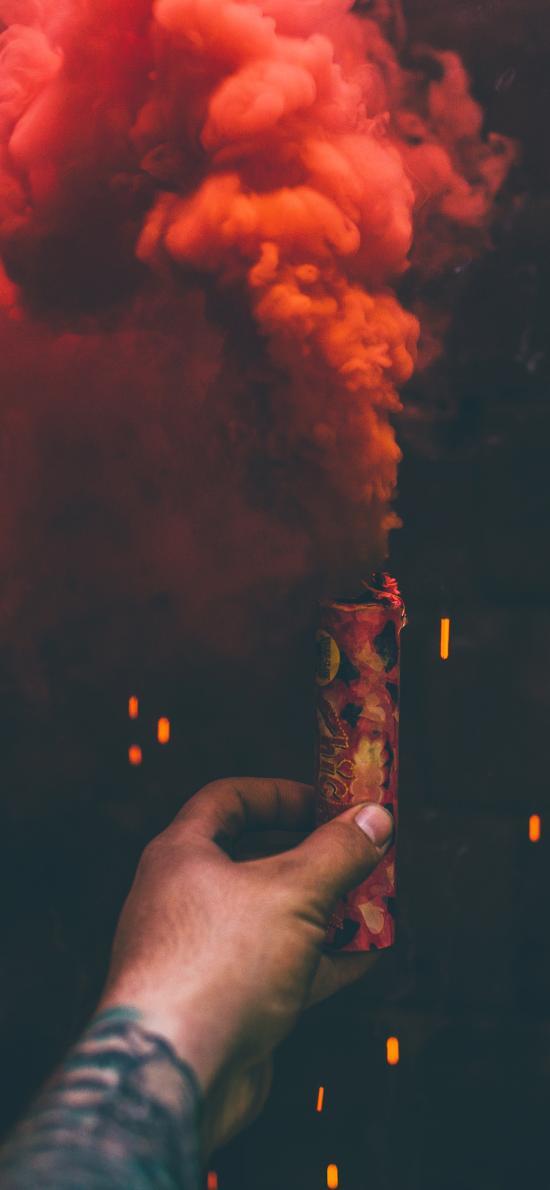 烟雾 求救 信号 红色 手