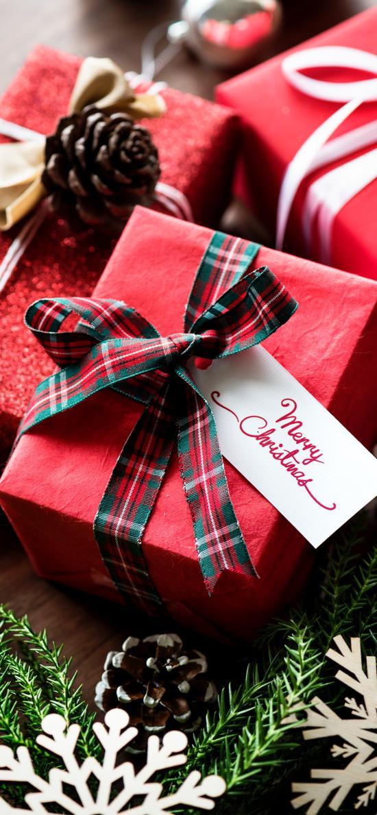 礼盒 圣诞 装饰 松果