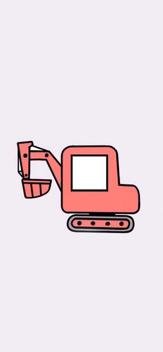 可爱 卡通 挖掘机 粉色