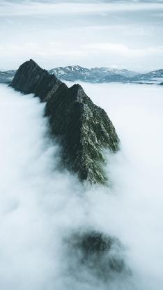 山脉 高山 云海 俯拍