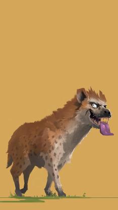 黄色背景 动物插画 豺狼