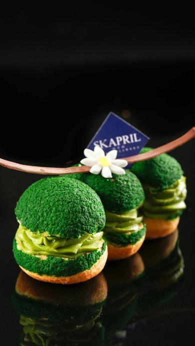甜品 抹茶 泡芙 绿色