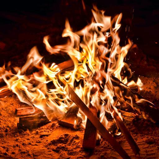 庆祝 篝火 木材 燃烧 夜晚
