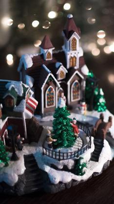 圣诞摆件 圣诞树 房屋 装饰