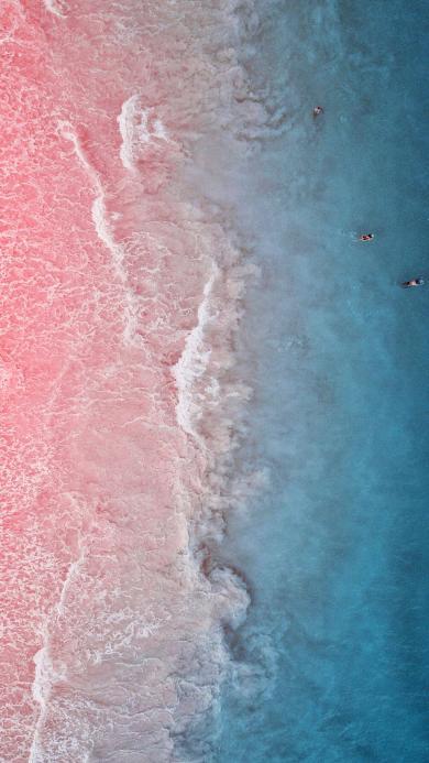 大海 沙滩 浪花 粉色