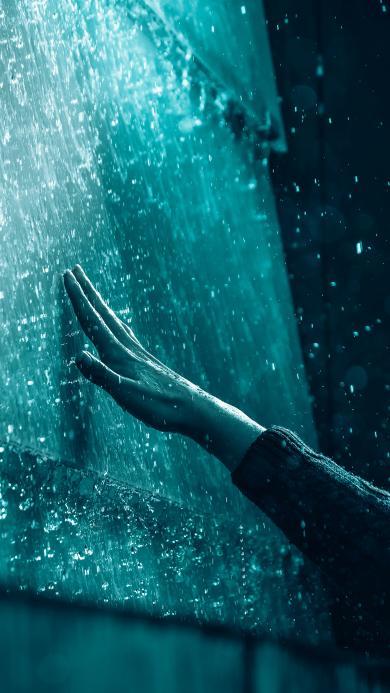 触摸 手 水珠 玻璃