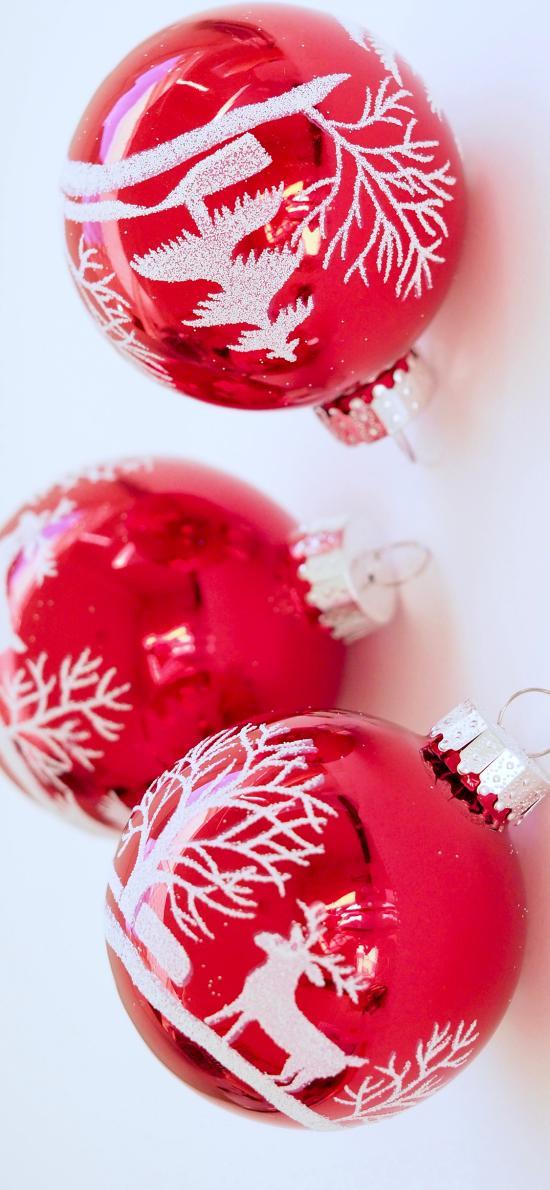 圣诞挂饰 红色 小球 驯鹿图案