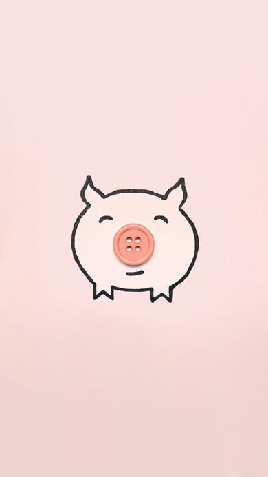 创意 纽扣 猪 粉