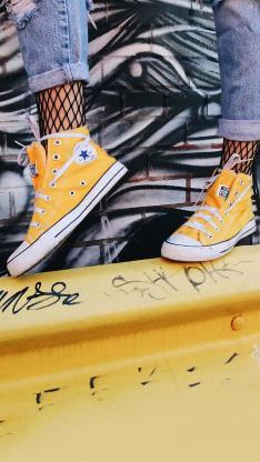 运动鞋 匡威 帆布鞋 黄色