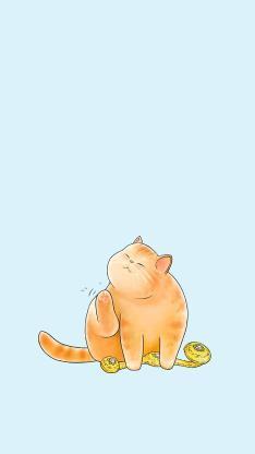 猫咪插画 肥猫 橘猫 如意