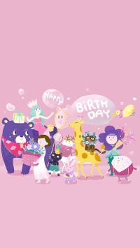 生日快乐 粉色 插画 庆祝 喜庆