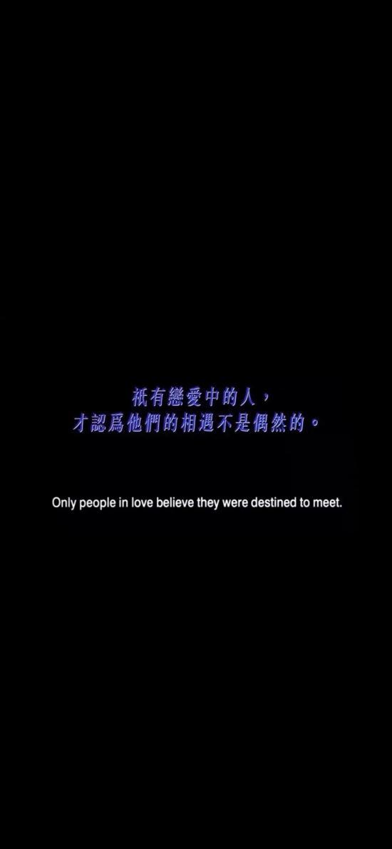 只有戀愛中的人 才認為他們的相遇不是偶然的 中英文