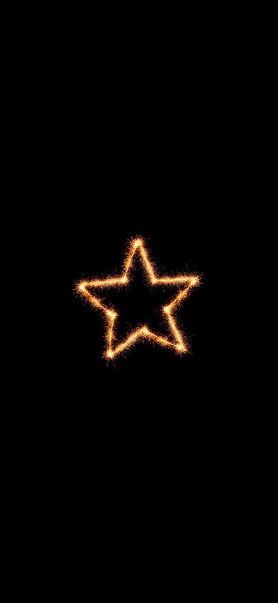 星星 五角星 火花 光 黑色