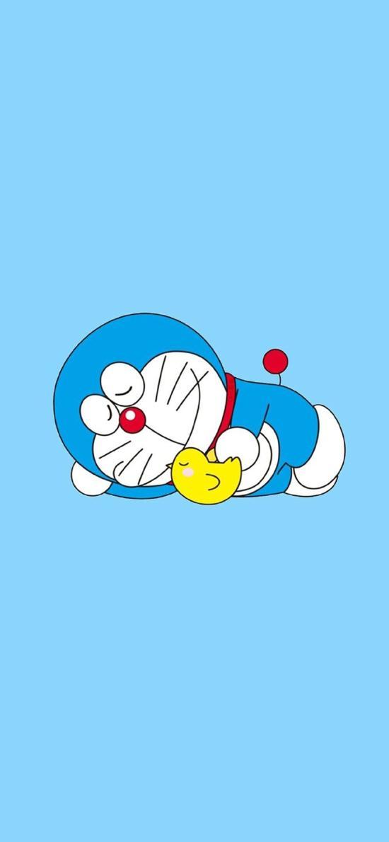 趴在地上睡觉的哆啦A梦