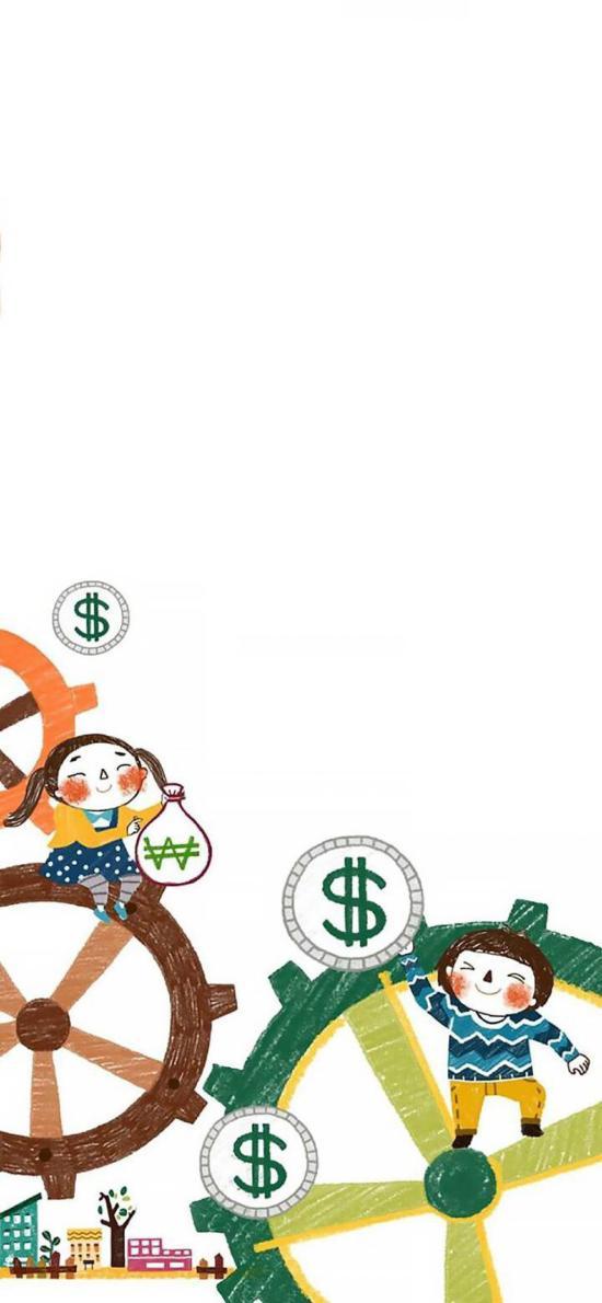 卡通插画 小人 钱币 齿轮