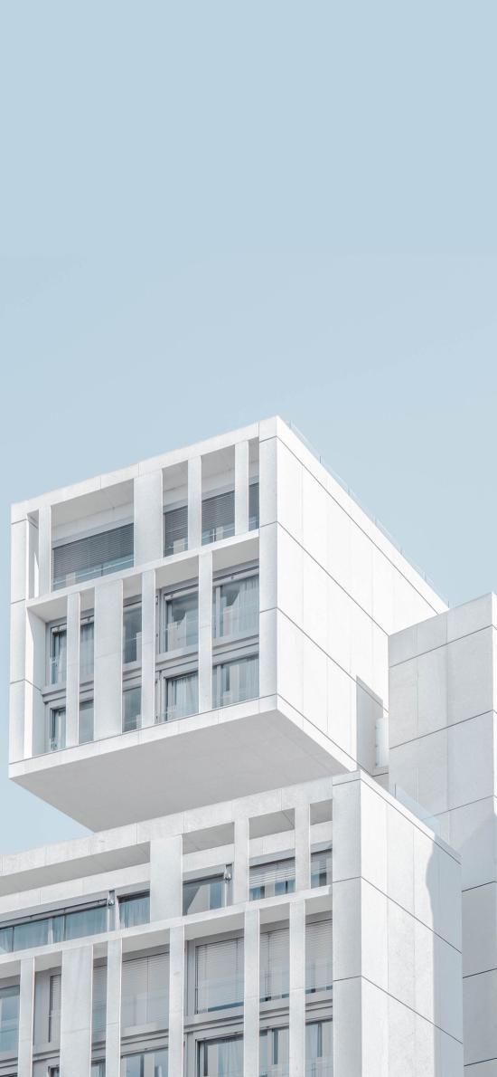 楼房 建筑 小清新 蓝天 简约 窗