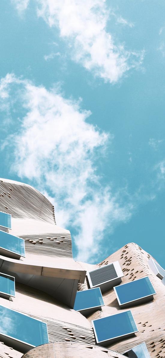 建筑 设计 现代 窗 天空 蓝天白云 玻璃
