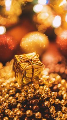 圣诞 装饰 金光闪闪 礼物 珠子 球