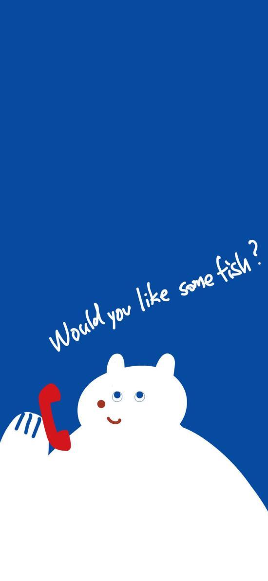 卡通白熊 would you like some fish