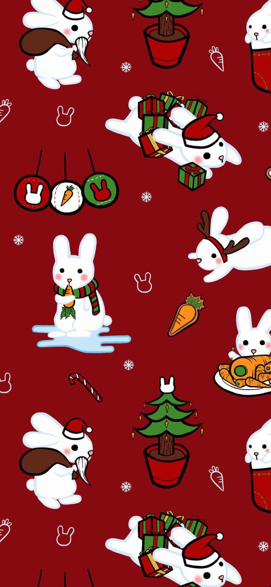 圣诞 兔子 平铺 装饰 红色
