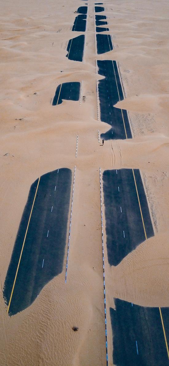荒漠 沙漠 掩盖 公路