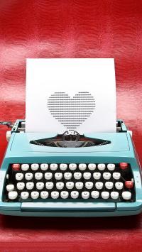 爱心 打字机 创意 复古