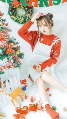 俏皮女孩 圣诞节 写真 圣诞树