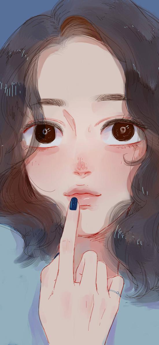 女孩插画 手绘 短发 大眼睛
