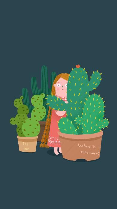 仙人掌 女孩 插画 盆栽