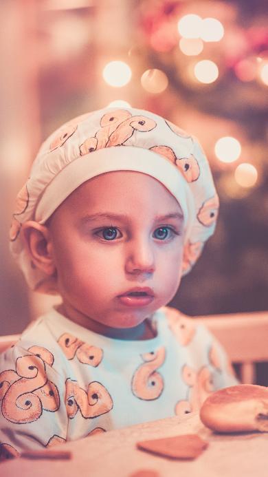欧美萌娃 蓝瞳 厨师帽 男孩