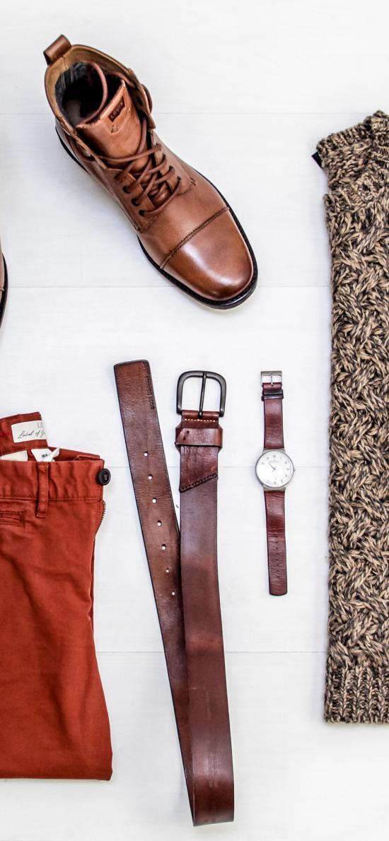 静物 皮鞋 衣服 皮带 手表 色系