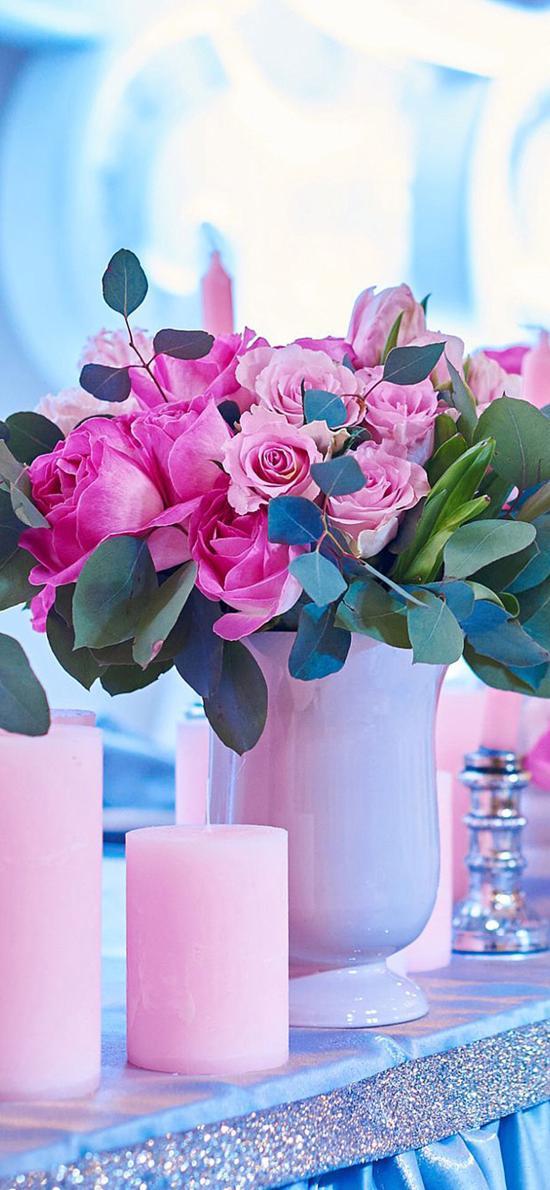 鲜花 盛开 玫瑰 蜡烛