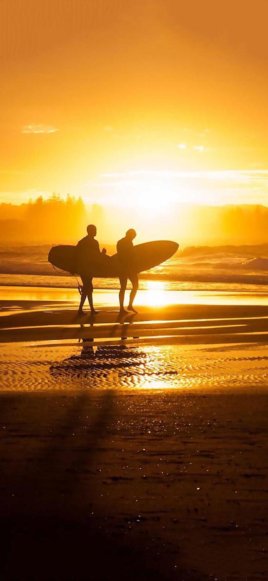海边 冲浪 沙滩 夕阳