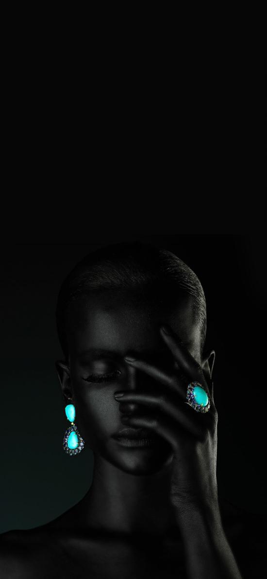 黑人模特 珠宝 绿松石 戒指 耳饰