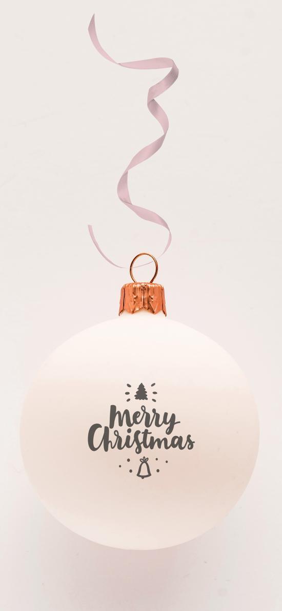 圣诞节 装饰球 白色 彩带