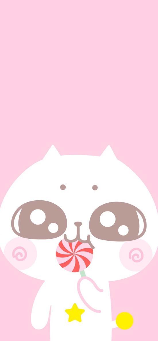 猫咪 可爱 粉色 棒棒糖 卡通