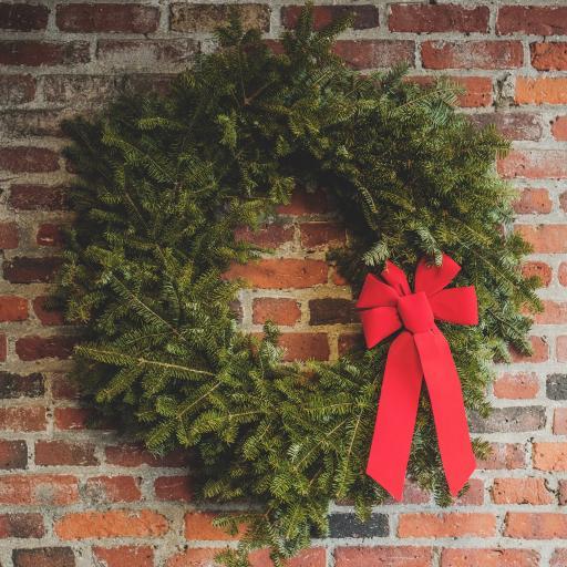 圣诞树装饰 花环 红色蝴蝶结